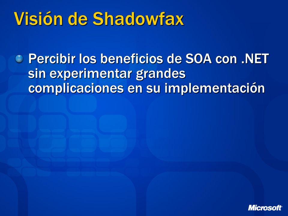 Visión de Shadowfax Percibir los beneficios de SOA con.NET sin experimentar grandes complicaciones en su implementación