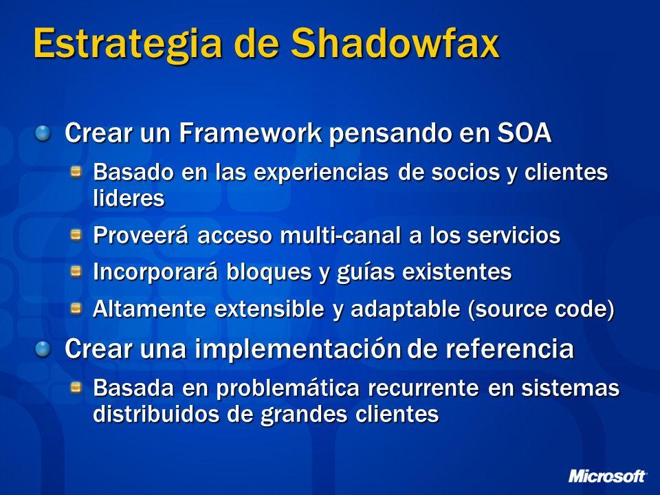 Estrategia de Shadowfax Crear un Framework pensando en SOA Basado en las experiencias de socios y clientes lideres Proveerá acceso multi-canal a los s
