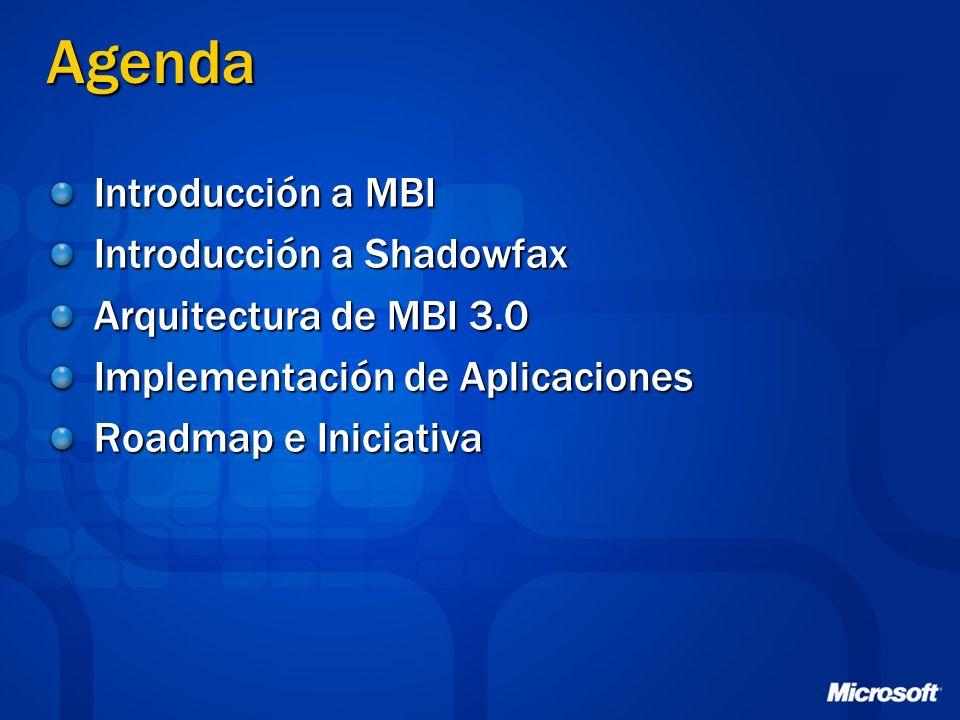 Agenda Introducción a MBI Introducción a Shadowfax Arquitectura de MBI 3.0 Implementación de Aplicaciones Roadmap e Iniciativa