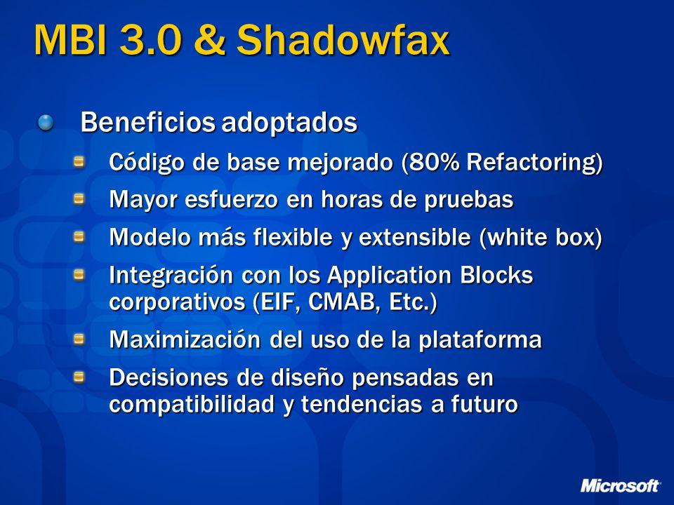 MBI 3.0 & Shadowfax Beneficios adoptados Código de base mejorado (80% Refactoring) Mayor esfuerzo en horas de pruebas Modelo más flexible y extensible