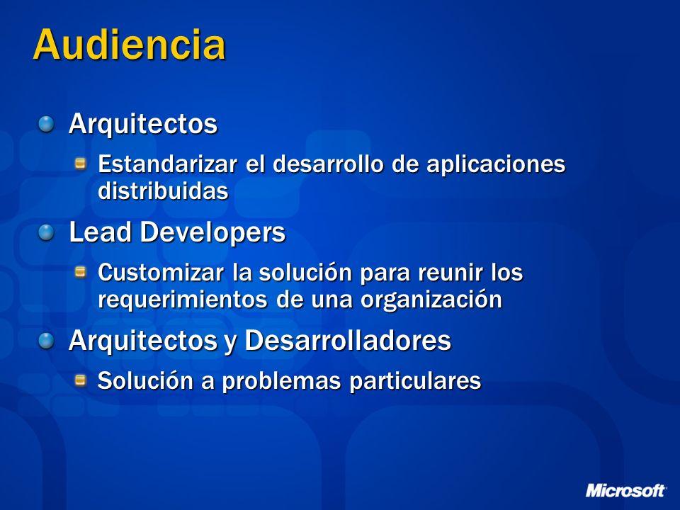 Audiencia Arquitectos Estandarizar el desarrollo de aplicaciones distribuidas Lead Developers Customizar la solución para reunir los requerimientos de