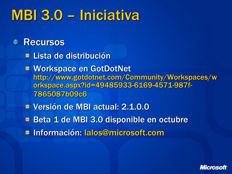 MBI 3.0 – Iniciativa Recursos Lista de distribución Workspace en GotDotNet http://www.gotdotnet.com/Community/Workspaces/w orkspace.aspx?id=49485933-6