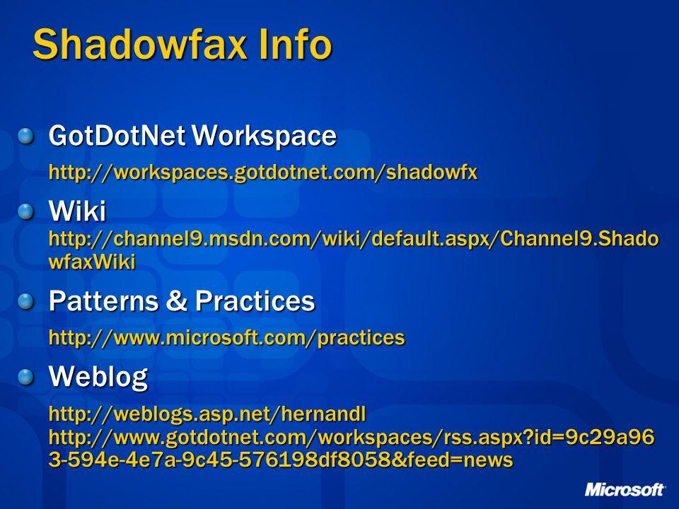 Shadowfax Info GotDotNet Workspace http://workspaces.gotdotnet.com/shadowfx Wiki http://channel9.msdn.com/wiki/default.aspx/Channel9.Shado wfaxWiki Pa