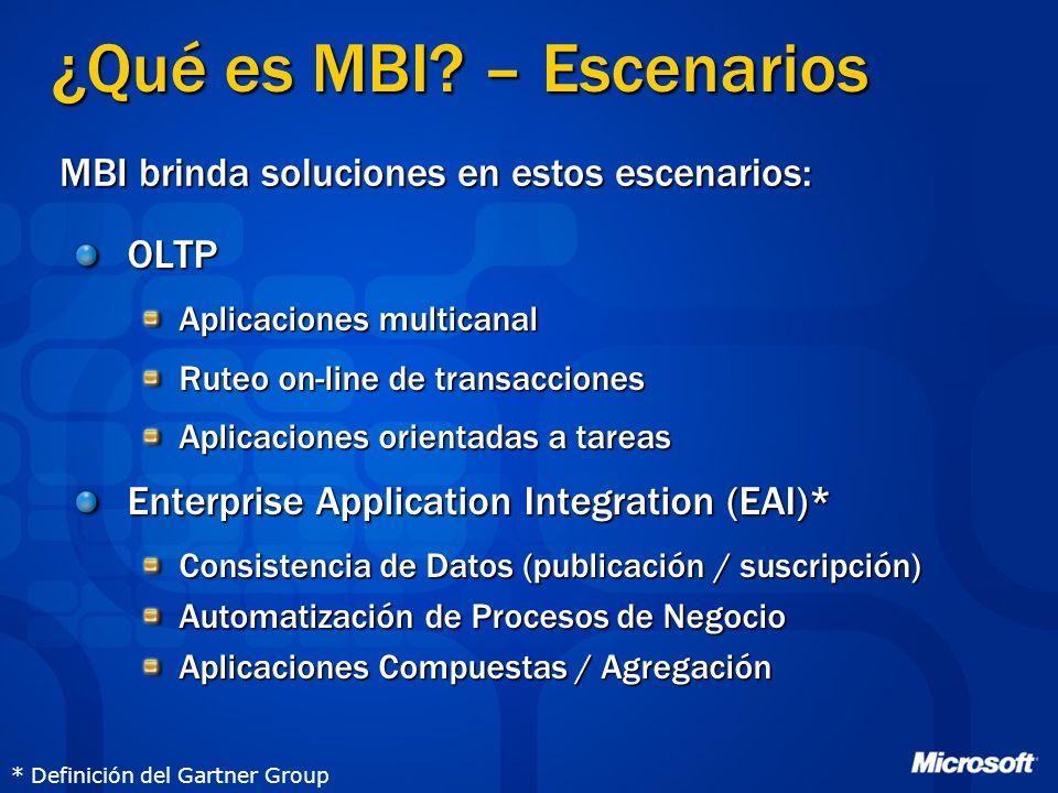 OLTP Aplicaciones multicanal Ruteo on-line de transacciones Aplicaciones orientadas a tareas Enterprise Application Integration (EAI)* Consistencia de