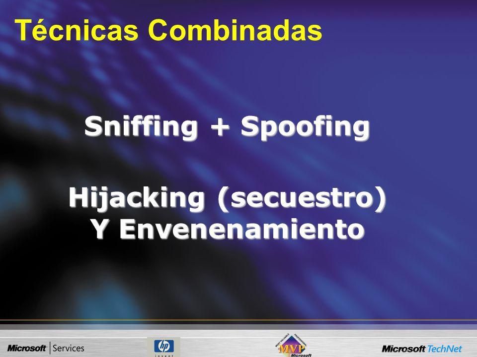 Tipos de técnicas de Spoofing Spoofing ARP –Envenenamiento de conexiones. –Man in the Middle. Spoofing IP –Rip Spoofing. –Hijacking. Spoofing SMTP Spo