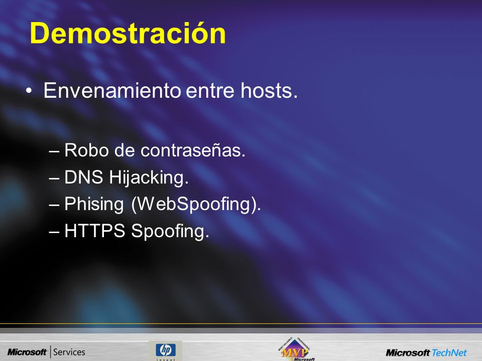 Man in the Middle Sirve como plataforma para otros ataques. DNS Spoofing. Phising. Hijacking. Sniffing Se utiliza para el robo de contraseñas.