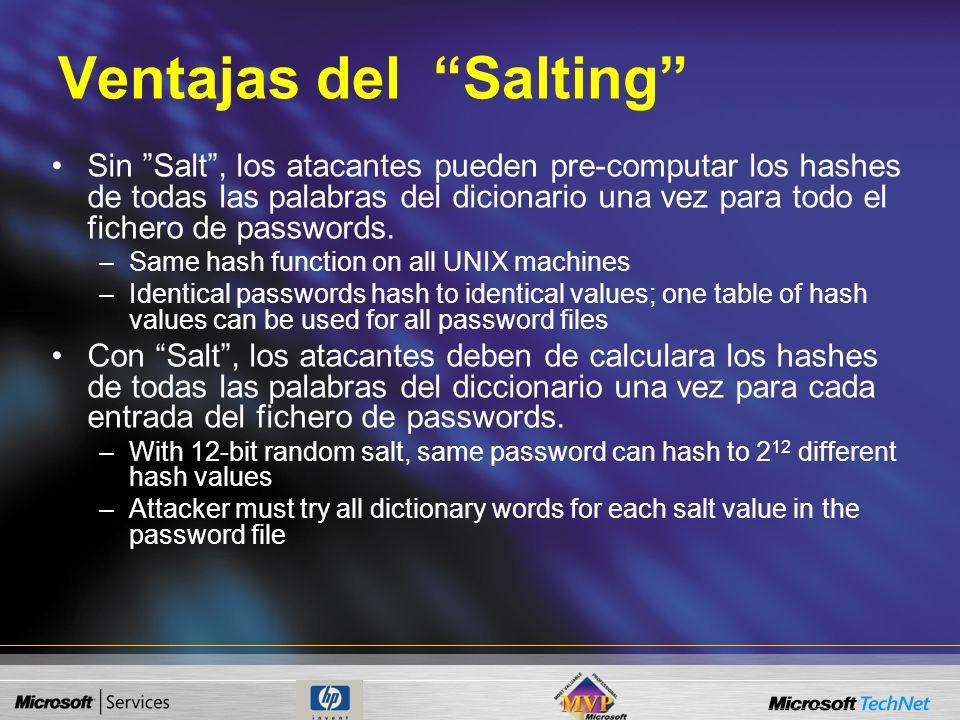 Salting Previene el que se pueda derivar o deducir la contraseña del fichero de contraseñas. Su presentación y almacenamiento difiere Efecto lateral: