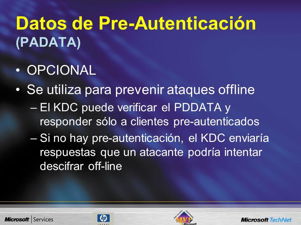 Solicitud de autenticación (KRB_AS_REQ) Este mensaje tiene cuatro campos: –Versión del protocolo Kerberos usado = V5 –Tipo del mensaje = KRB_AS_REQ –D