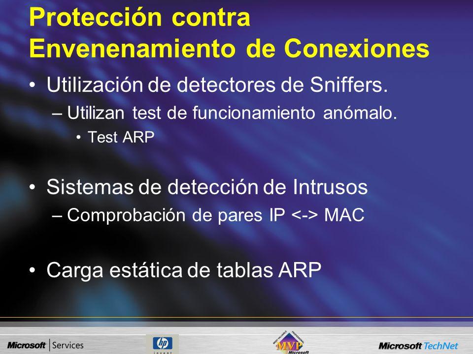 Protección contra Envenenamiento de Conexiones Medidas preventivas. –Control físico de la red. Bloqueo de puntos de acceso. Segmentación de red. –Gest