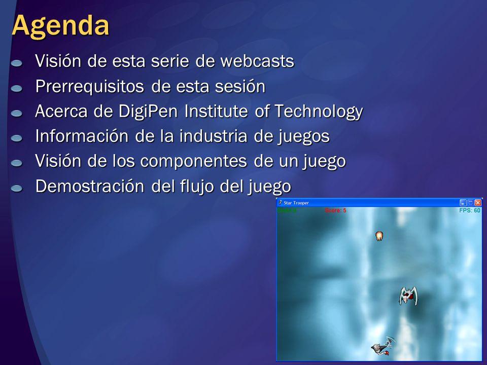 Resumen de la sesión Visión de la serie de webcasts Prerrequisitos de la sesión Acerca de DigiPen Institute of Technology Información de la industria de juegos Visión de los componentes de un juego Demostración del flujo de un juego
