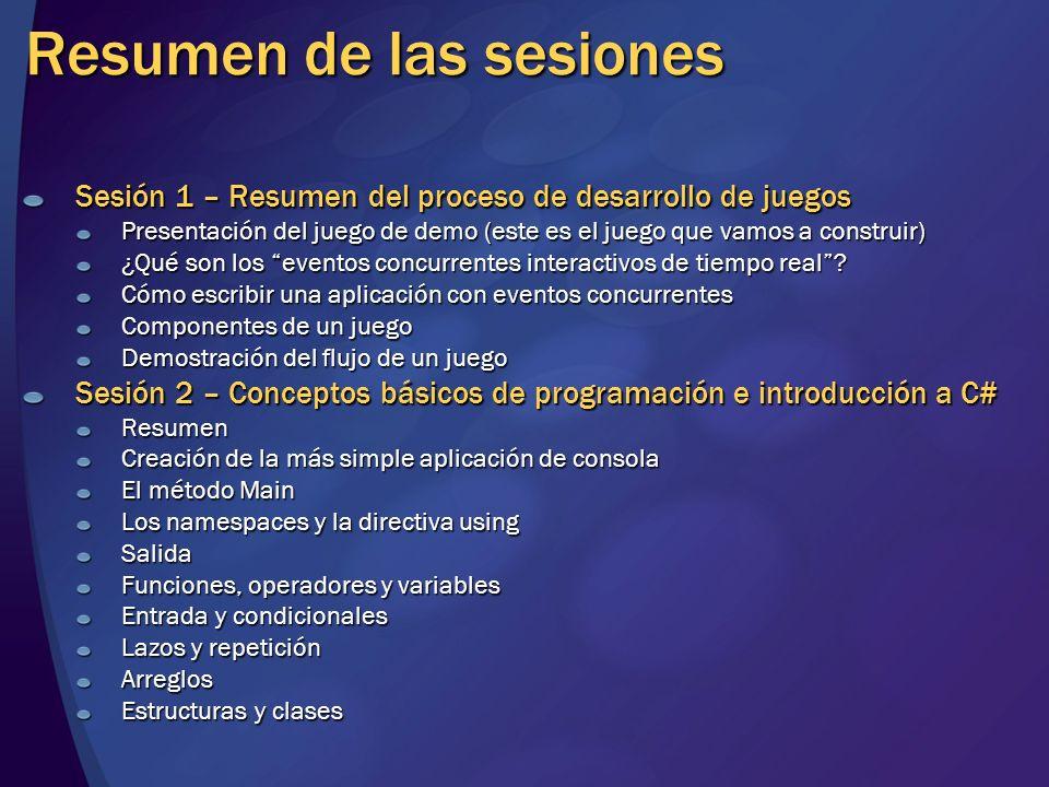 Resumen de las sesiones Sesión 3 – Visión de los elementos de un juego Gráficos (2D, 3D, bitmap vs.