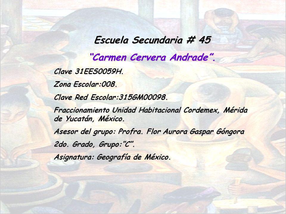 Escuela Secundaria # 45 Carmen Cervera Andrade. Clave 31EES0059H. Zona Escolar:008. Clave Red Escolar:315GM00098. Fraccionamiento Unidad Habitacional
