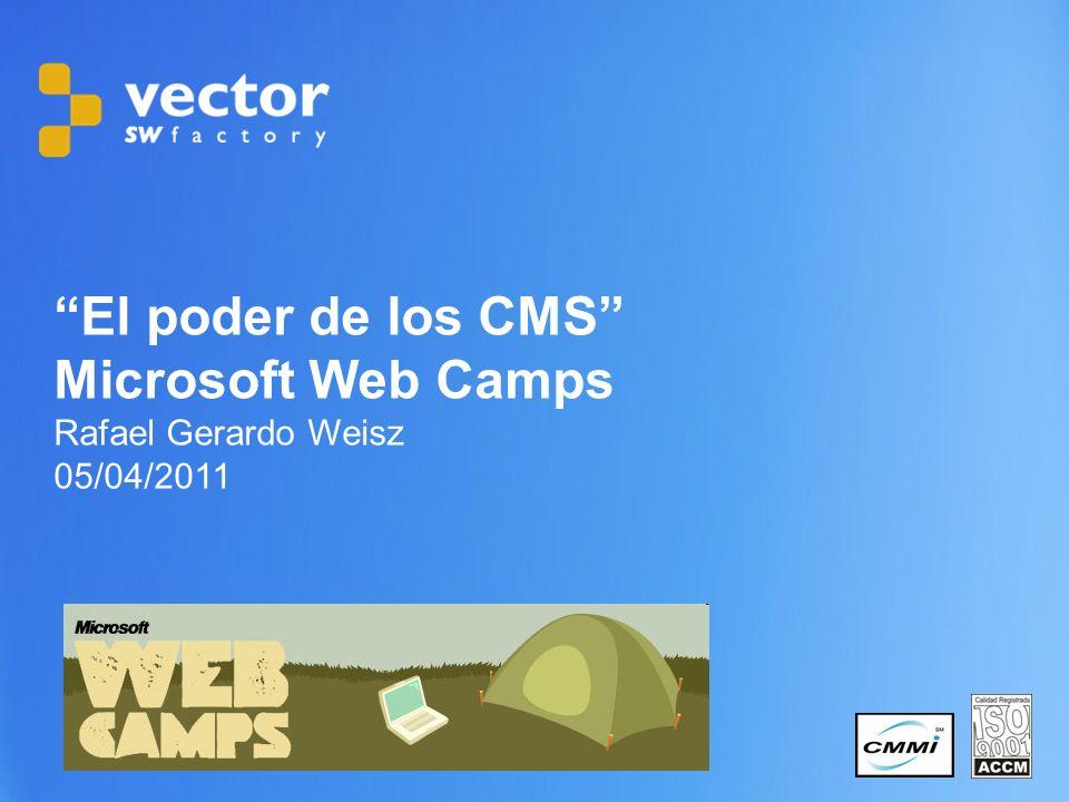 1 Copyright © 2011 Vector Software Factory El poder de los CMS Microsoft Web Camps Rafael Gerardo Weisz 05/04/2011