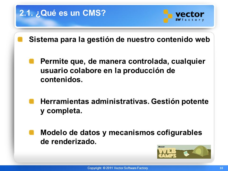 10 Copyright © 2011 Vector Software Factory 2.1.¿Qué es un CMS.