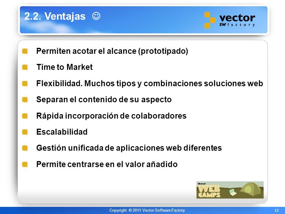 12 Copyright © 2011 Vector Software Factory 2.2. Ventajas Permiten acotar el alcance (prototipado) Time to Market Flexibilidad. Muchos tipos y combina