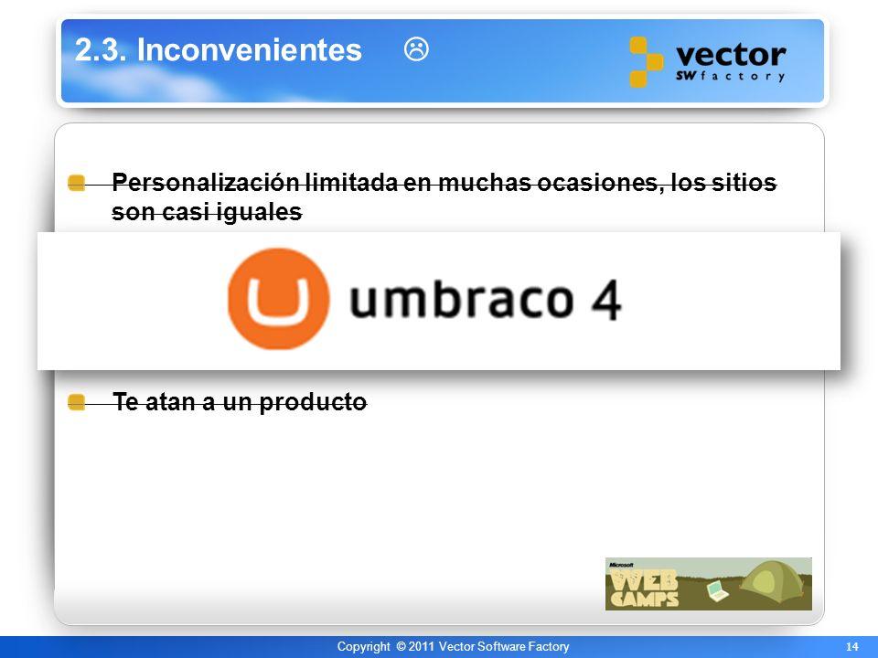 14 Copyright © 2011 Vector Software Factory 2.3. Inconvenientes Personalización limitada en muchas ocasiones, los sitios son casi iguales Falta de con