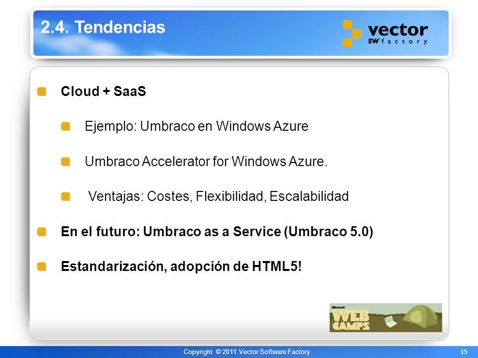 15 Copyright © 2011 Vector Software Factory 2.4. Tendencias Cloud + SaaS Ejemplo: Umbraco en Windows Azure Umbraco Accelerator for Windows Azure. Vent