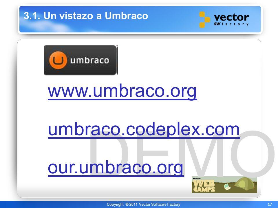 17 Copyright © 2011 Vector Software Factory DEMO 3.1. Un vistazo a Umbraco www.umbraco.org umbraco.codeplex.com our.umbraco.org
