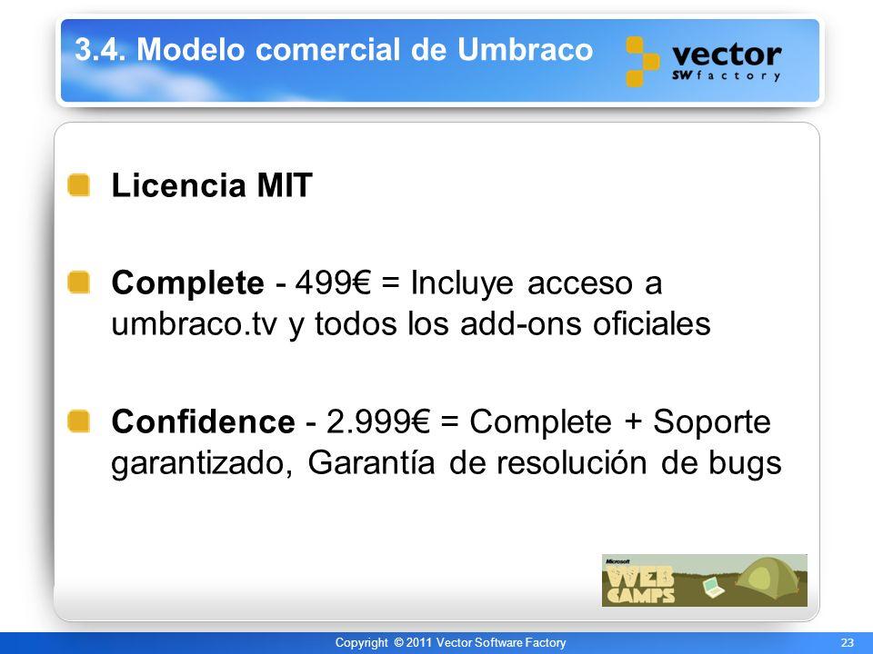23 Copyright © 2011 Vector Software Factory 3.4. Modelo comercial de Umbraco Licencia MIT Complete - 499 = Incluye acceso a umbraco.tv y todos los add