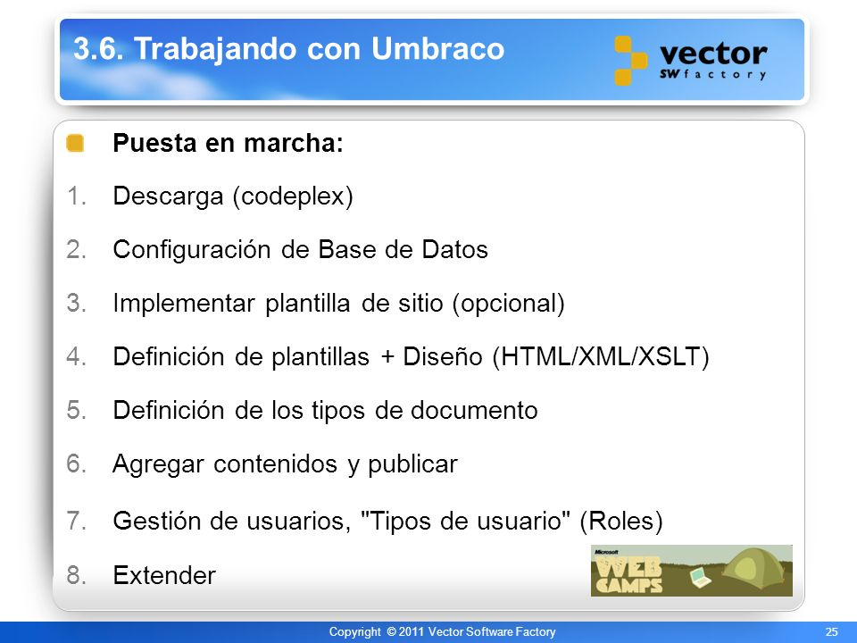 25 Copyright © 2011 Vector Software Factory 3.6. Trabajando con Umbraco Puesta en marcha: 1.