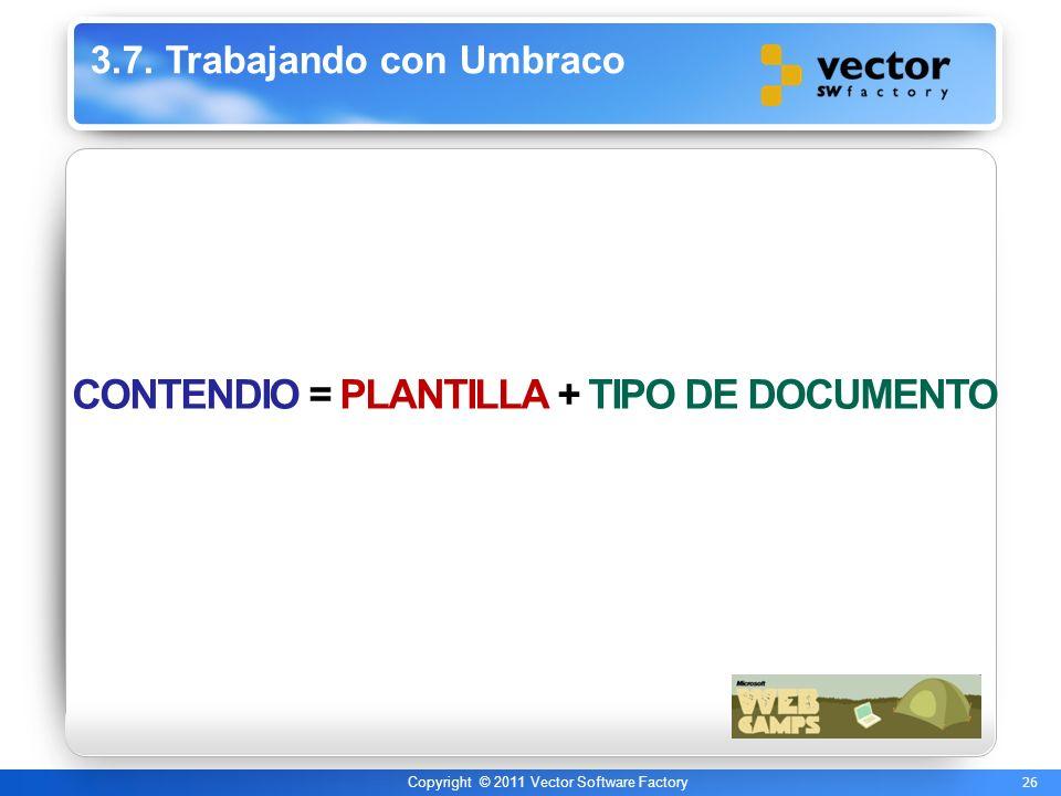 26 Copyright © 2011 Vector Software Factory 3.7. Trabajando con Umbraco CONTENDIO = PLANTILLA + TIPO DE DOCUMENTO