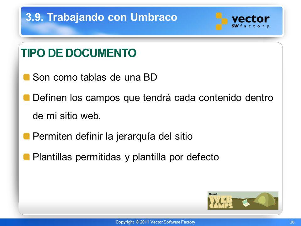 28 Copyright © 2011 Vector Software Factory 3.9. Trabajando con Umbraco TIPO DE DOCUMENTO Son como tablas de una BD Definen los campos que tendrá cada