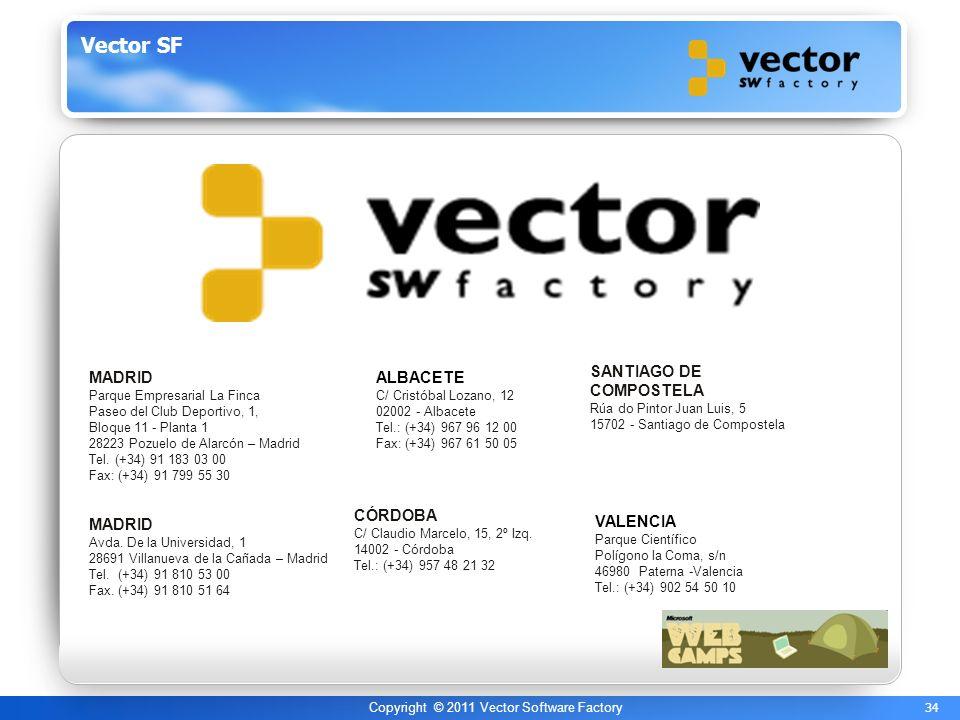 34 Copyright © 2011 Vector Software Factory Vector SF MADRID Parque Empresarial La Finca Paseo del Club Deportivo, 1, Bloque 11 - Planta 1 28223 Pozuelo de Alarcón – Madrid Tel.