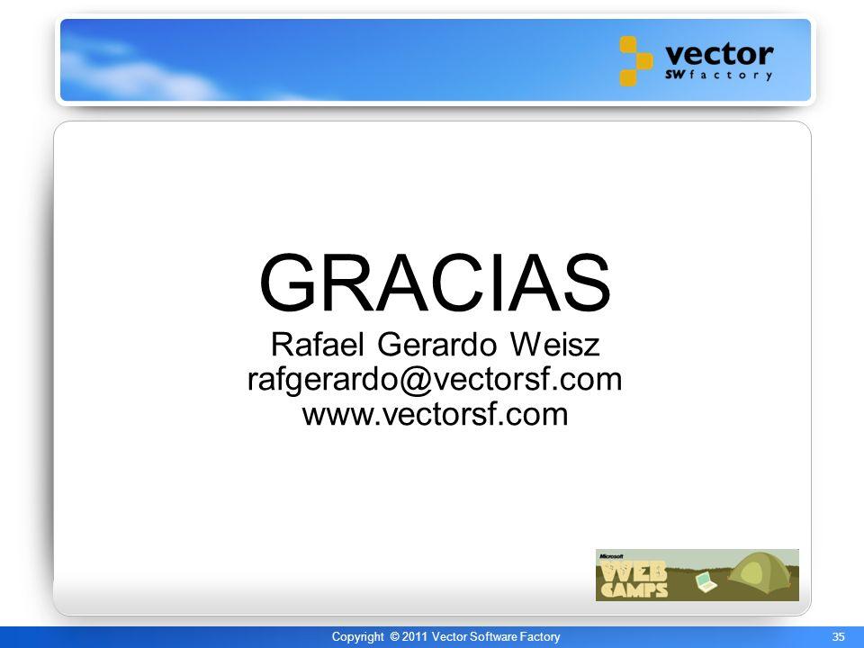 35 Copyright © 2011 Vector Software Factory GRACIAS Rafael Gerardo Weisz rafgerardo@vectorsf.com www.vectorsf.com