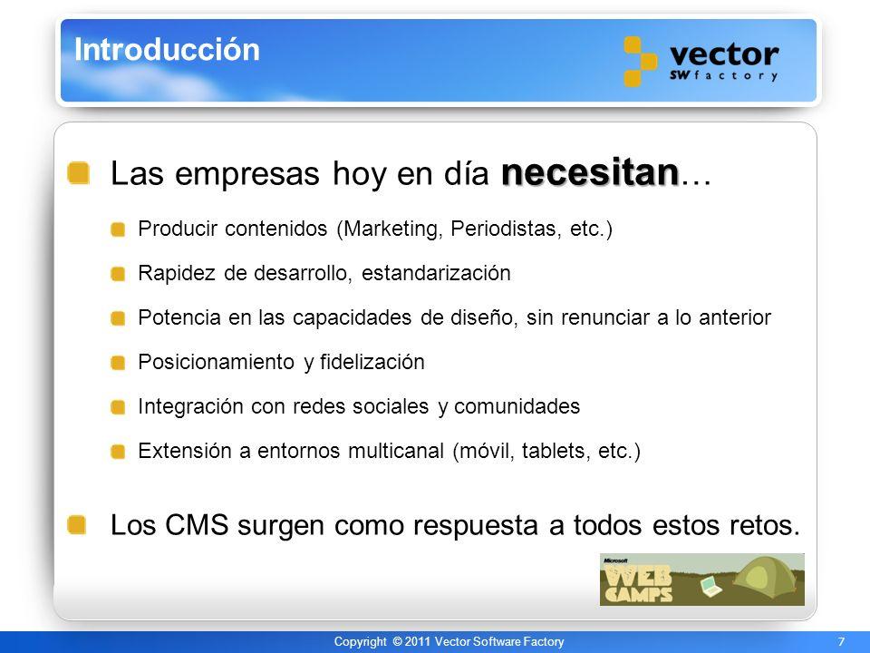 8 Copyright © 2011 Vector Software Factory El uso de los CMS en aplicaciones web