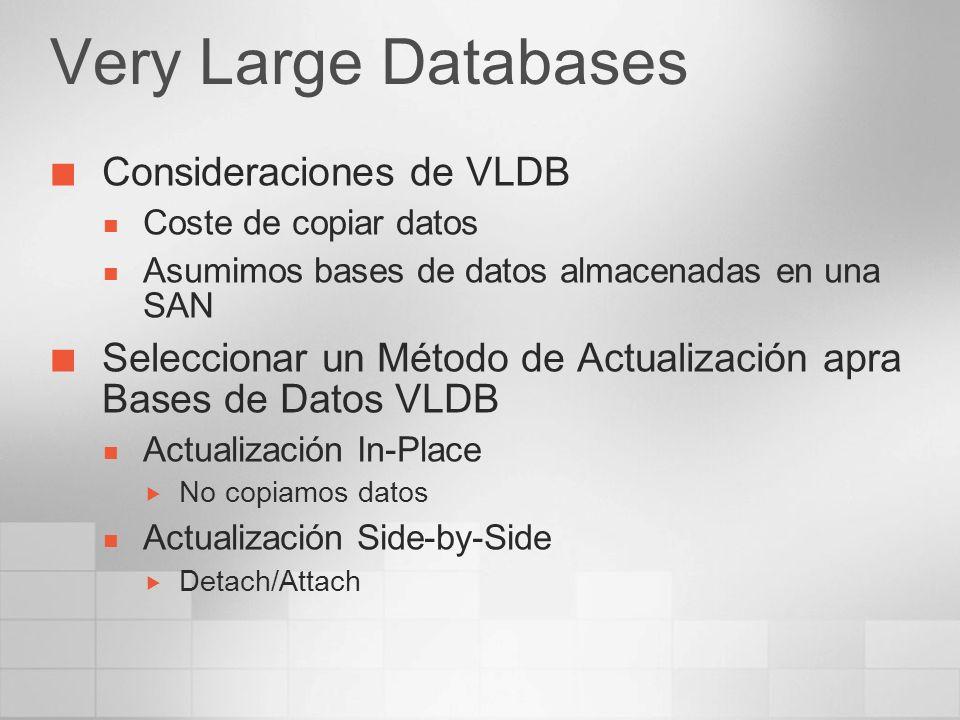 Very Large Databases Consideraciones de VLDB Coste de copiar datos Asumimos bases de datos almacenadas en una SAN Seleccionar un Método de Actualizaci