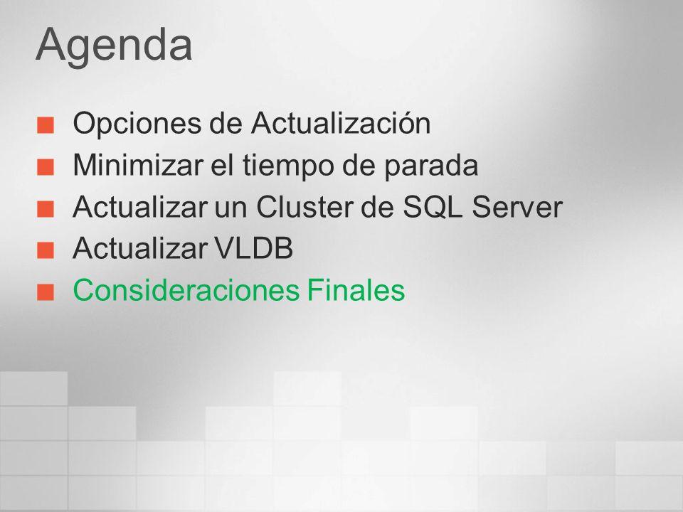 Agenda Opciones de Actualización Minimizar el tiempo de parada Actualizar un Cluster de SQL Server Actualizar VLDB Consideraciones Finales