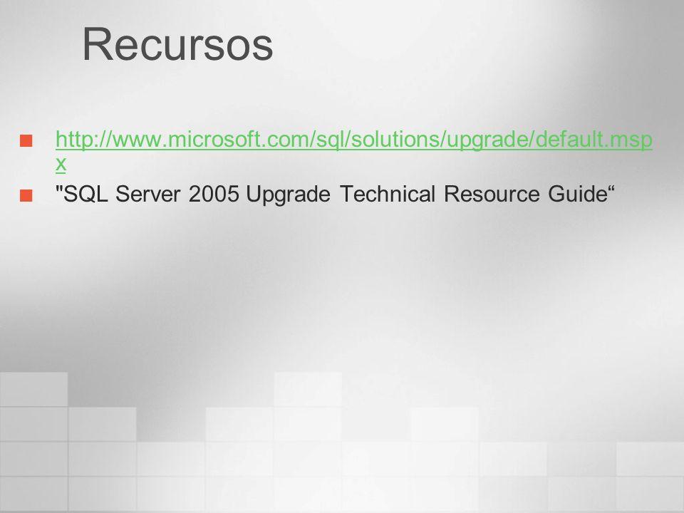 Recursos http://www.microsoft.com/sql/solutions/upgrade/default.msp x http://www.microsoft.com/sql/solutions/upgrade/default.msp x