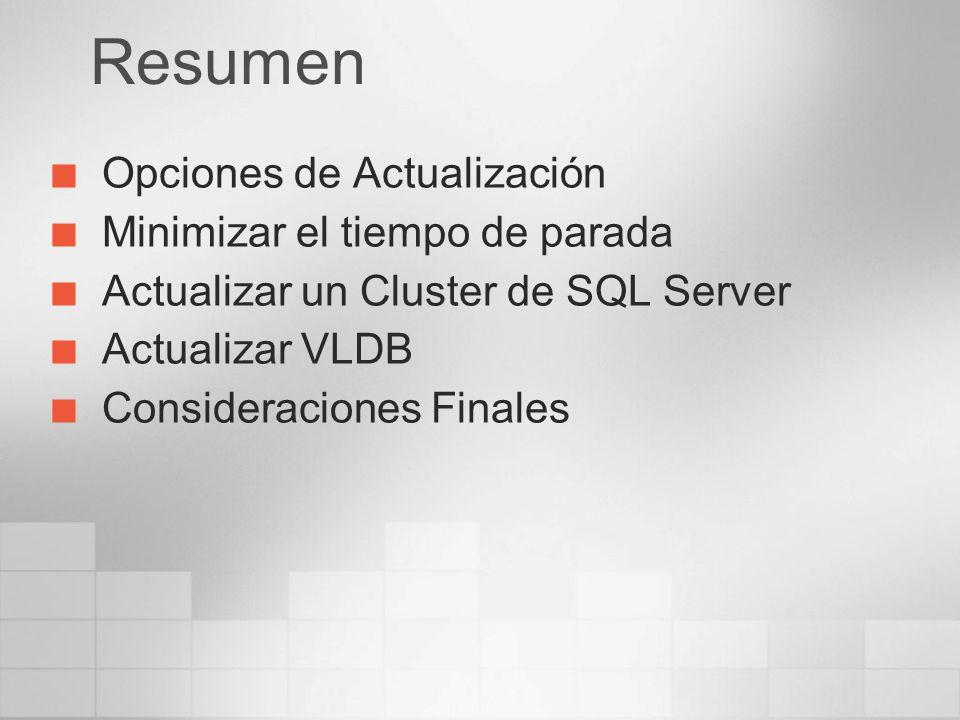 Resumen Opciones de Actualización Minimizar el tiempo de parada Actualizar un Cluster de SQL Server Actualizar VLDB Consideraciones Finales