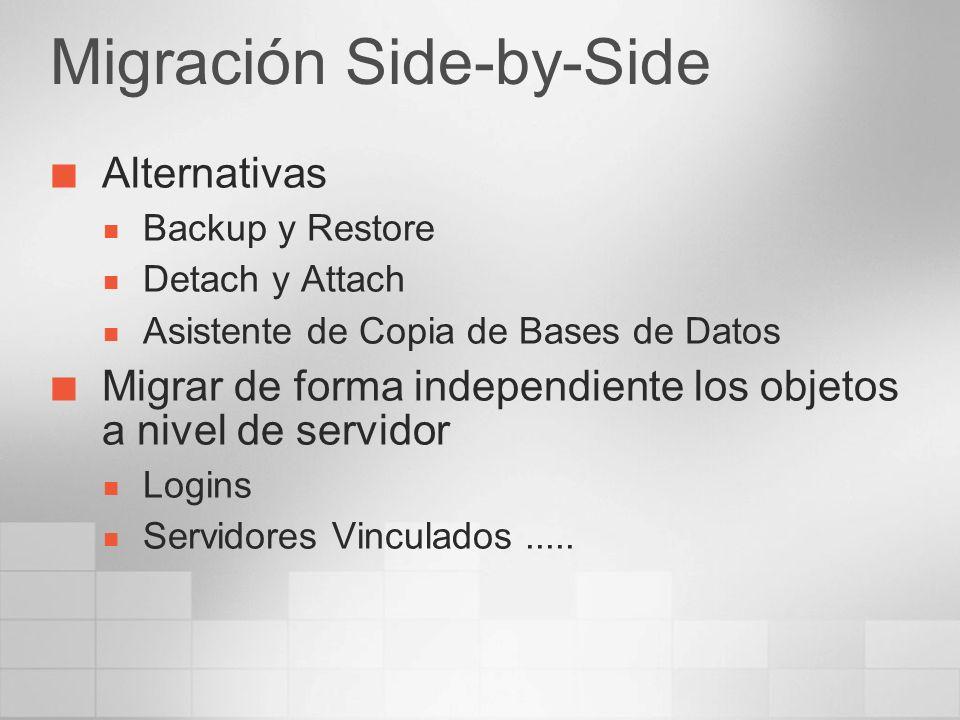 Migración Side-by-Side Alternativas Backup y Restore Detach y Attach Asistente de Copia de Bases de Datos Migrar de forma independiente los objetos a
