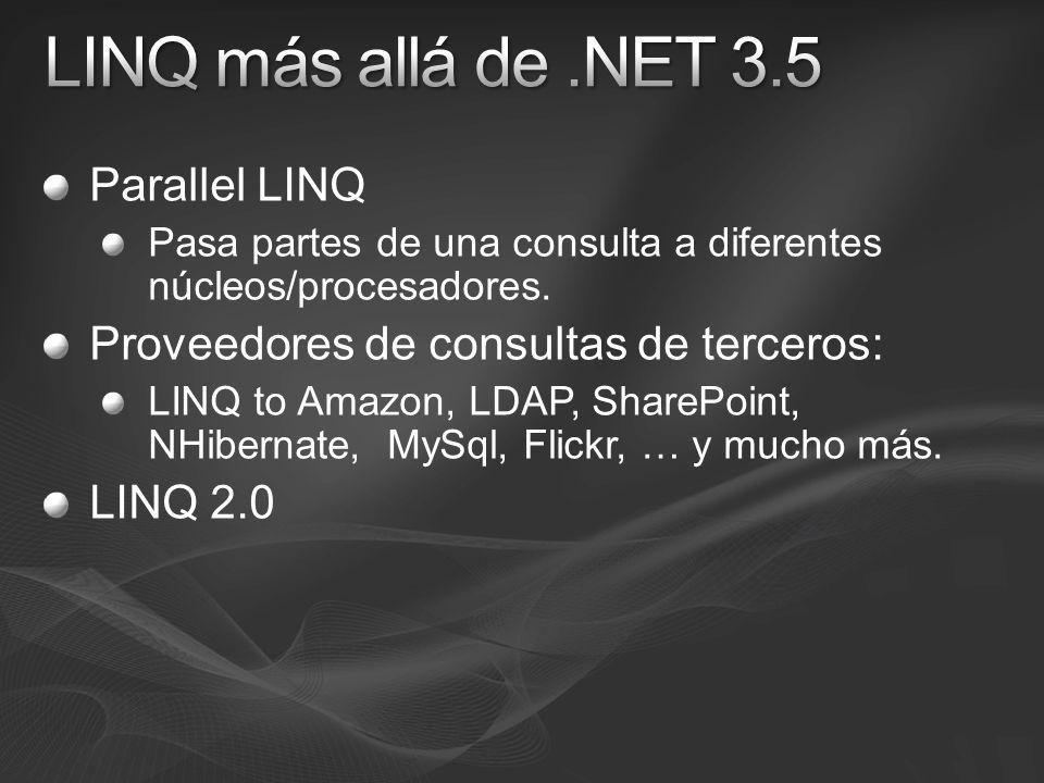 Parallel LINQ Pasa partes de una consulta a diferentes núcleos/procesadores. Proveedores de consultas de terceros: LINQ to Amazon, LDAP, SharePoint, N