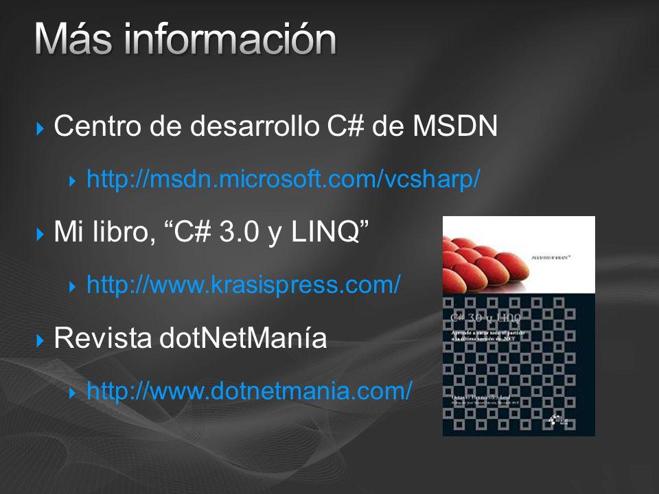 Centro de desarrollo C# de MSDN http://msdn.microsoft.com/vcsharp/ Mi libro, C# 3.0 y LINQ http://www.krasispress.com/ Revista dotNetManía http://www.