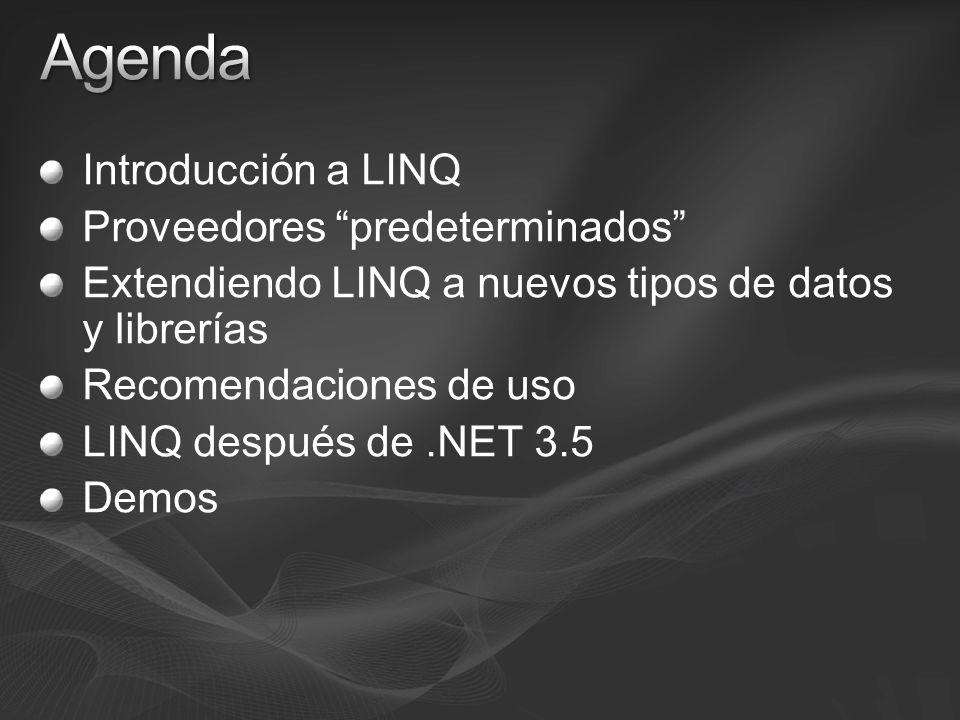 Introducción a LINQ Proveedores predeterminados Extendiendo LINQ a nuevos tipos de datos y librerías Recomendaciones de uso LINQ después de.NET 3.5 De