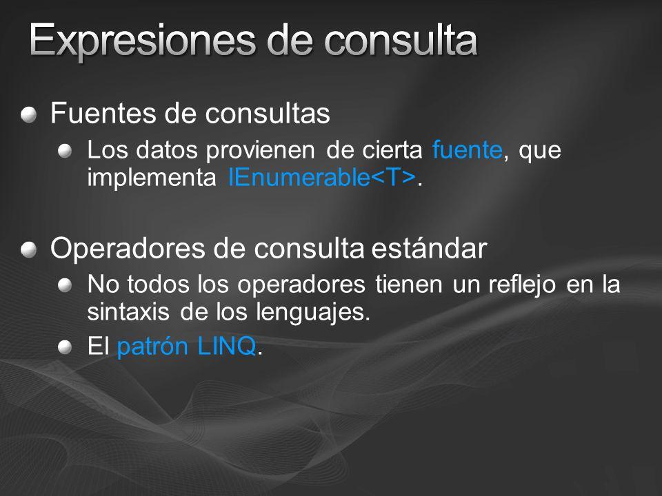 RestricciónWhere ProyecciónSelect, SelectMany OrdenaciónOrderBy, ThenBy AgrupaciónGroupBy EncuentrosJoin, GroupJoin CuantificadoresAny, All ParticiónTake, Skip, TakeWhile, SkipWhile ConjuntualesDistinct, Union, Intersect, Except Un elementoFirst, Last, Single, ElementAt AgregadosCount, Sum, Min, Max, Average ConversiónToArray, ToList, ToDictionary Conversión de elementosOfType, Cast