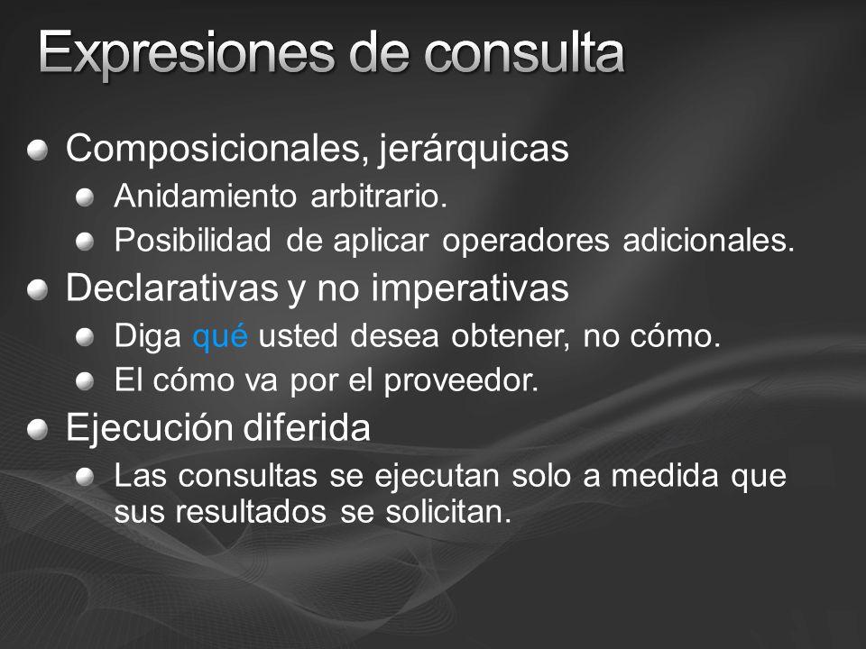 Composicionales, jerárquicas Anidamiento arbitrario. Posibilidad de aplicar operadores adicionales. Declarativas y no imperativas Diga qué usted desea