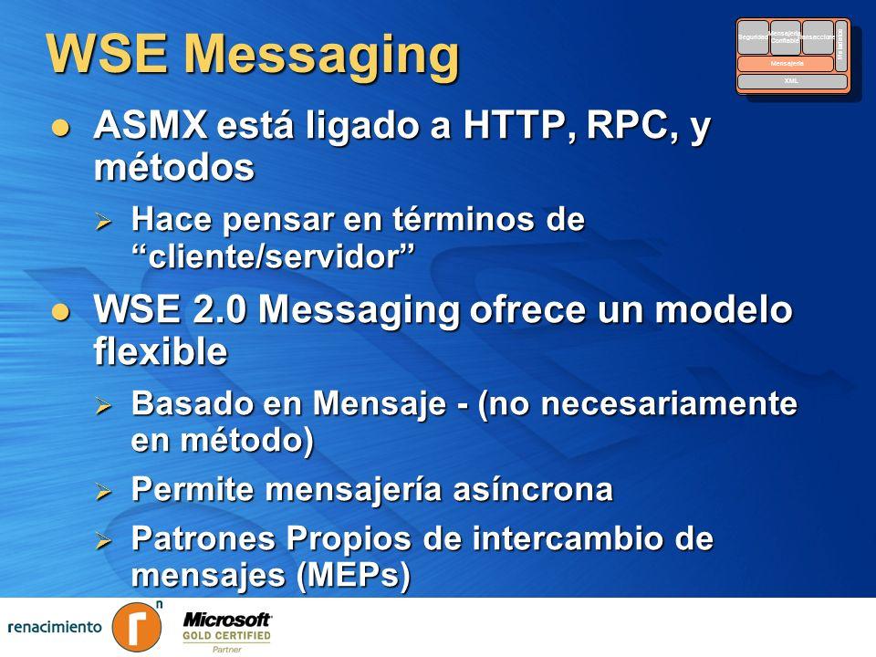 WSE Messaging ASMX está ligado a HTTP, RPC, y métodos ASMX está ligado a HTTP, RPC, y métodos Hace pensar en términos de cliente/servidor Hace pensar