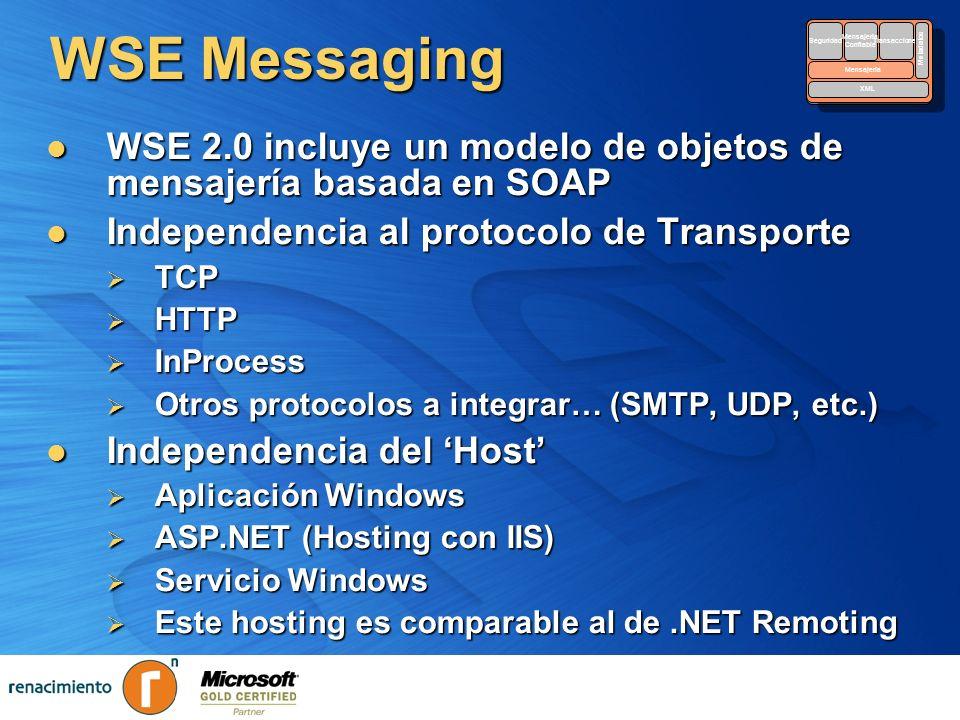 WSE 2.0 incluye un modelo de objetos de mensajería basada en SOAP WSE 2.0 incluye un modelo de objetos de mensajería basada en SOAP Independencia al p
