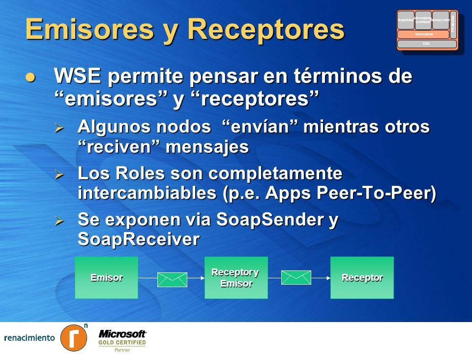 Emisores y Receptores WSE permite pensar en términos de emisores y receptores WSE permite pensar en términos de emisores y receptores Algunos nodos en