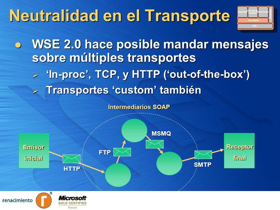 Neutralidad en el Transporte WSE 2.0 hace posible mandar mensajes sobre múltiples transportes WSE 2.0 hace posible mandar mensajes sobre múltiples tra
