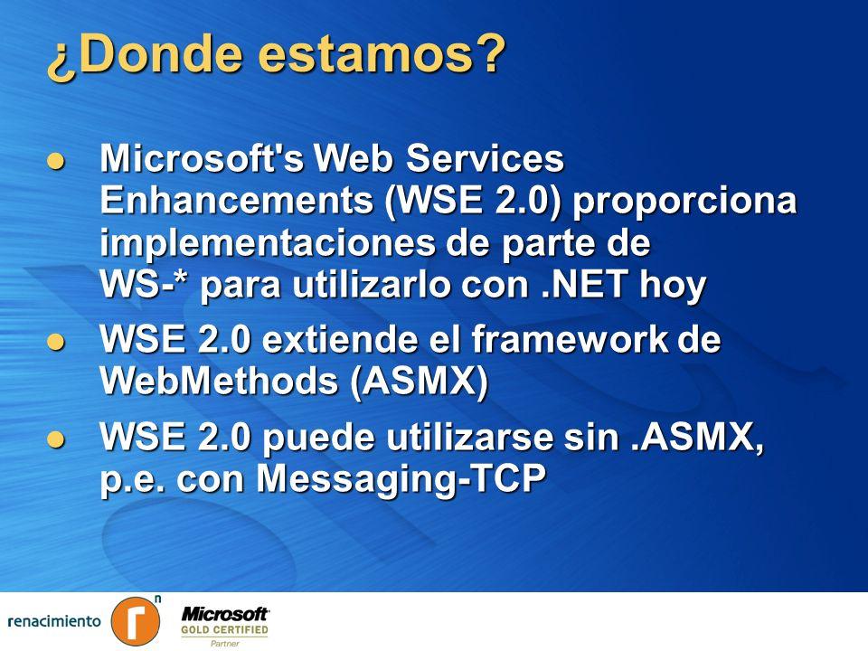 ¿Donde estamos? Microsoft's Web Services Enhancements (WSE 2.0) proporciona implementaciones de parte de WS-* para utilizarlo con.NET hoy Microsoft's