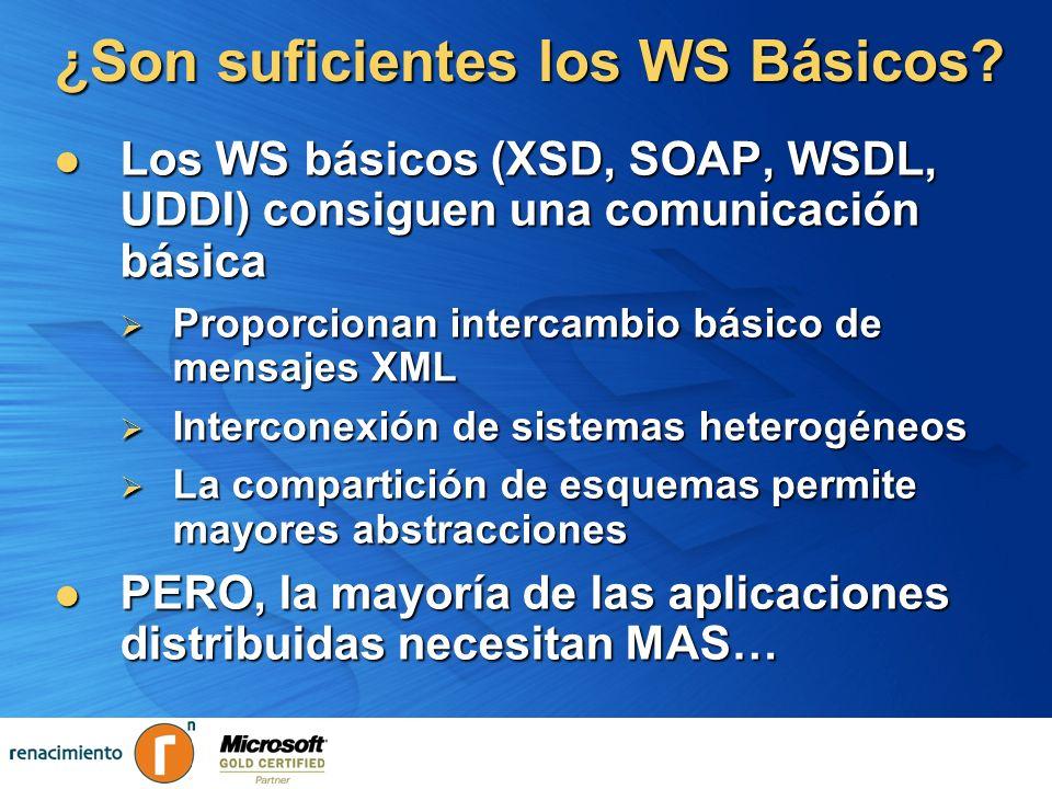 ¿Son suficientes los WS Básicos? Los WS básicos (XSD, SOAP, WSDL, UDDI) consiguen una comunicación básica Los WS básicos (XSD, SOAP, WSDL, UDDI) consi