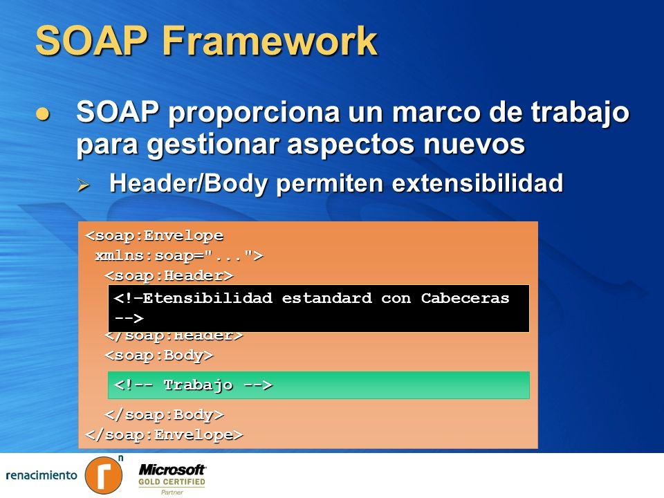SOAP Framework SOAP proporciona un marco de trabajo para gestionar aspectos nuevos SOAP proporciona un marco de trabajo para gestionar aspectos nuevos