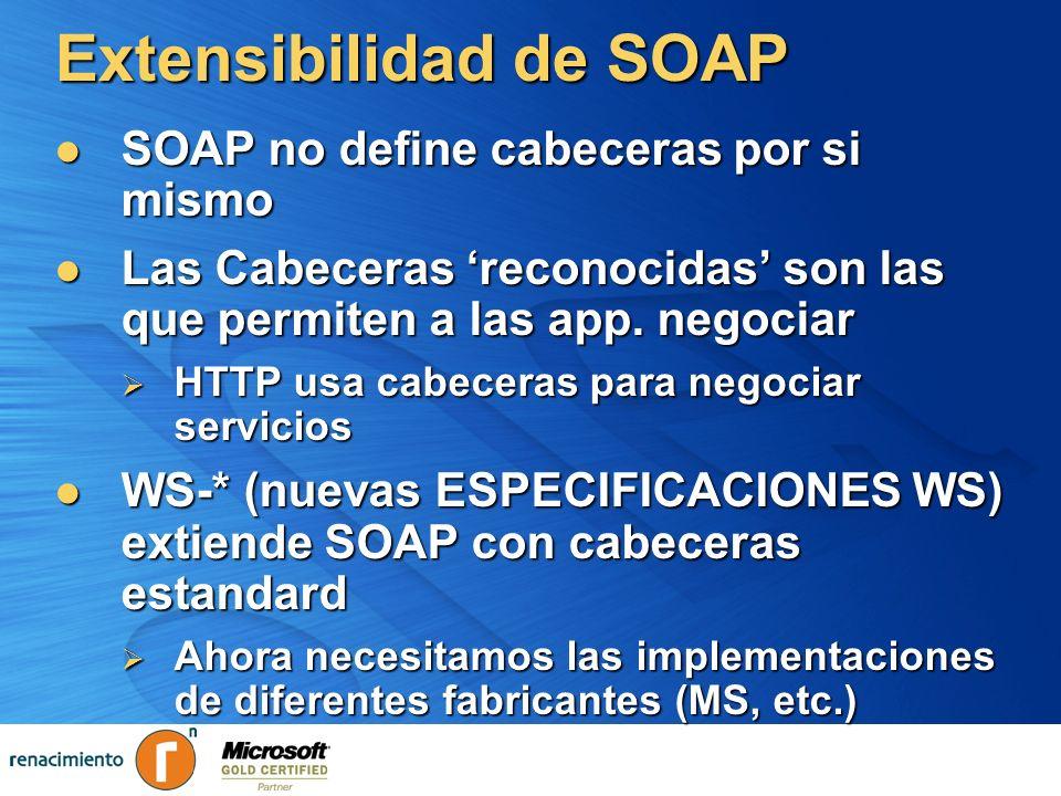 Extensibilidad de SOAP SOAP no define cabeceras por si mismo SOAP no define cabeceras por si mismo Las Cabeceras reconocidas son las que permiten a la