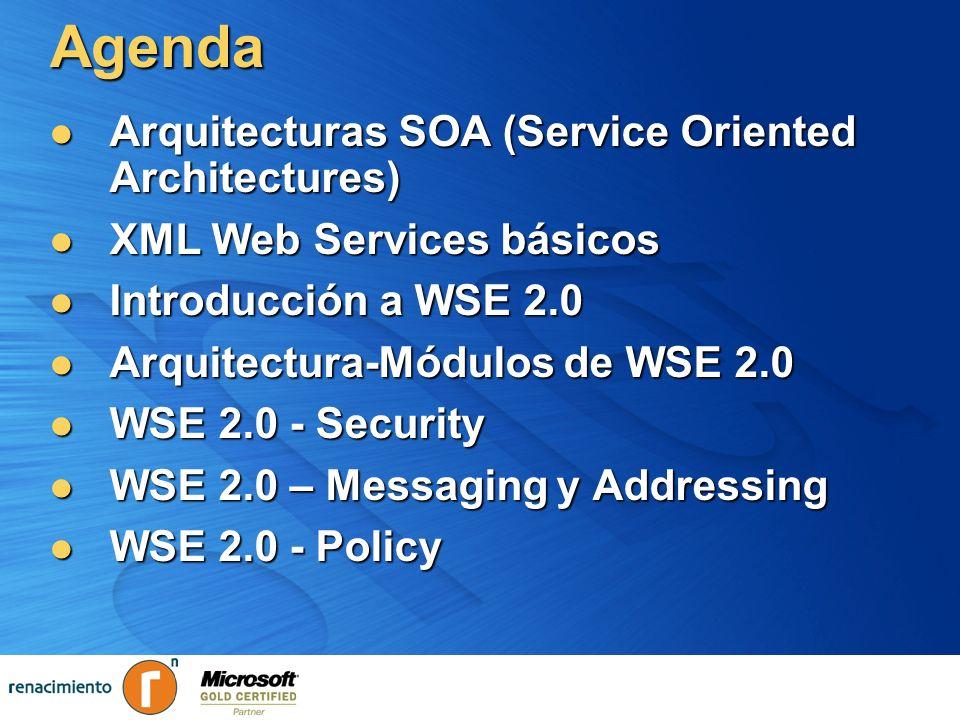Agenda – WSE Security Fundamentos en Seguridad Fundamentos en Seguridad Tokens de Seguridad de Servicios Web Tokens de Seguridad de Servicios Web Autenticación Autenticación Autorización Autorización Firmas Digitales Firmas Digitales Encriptación (Cifrado) Encriptación (Cifrado) Implementación de Security Tokens Implementación de Security Tokens Creación de Contextos de Seguridad Creación de Contextos de Seguridad Definición de Políticas de Seguridad Definición de Políticas de Seguridad Security Reliable Messaging Reliable Messaging Transactions Messaging Metadata XML Security Reliable Messaging Reliable Messaging Transactions Messaging Metadata XML Seguridad Mensajería Confiable Transacciones Mensajería XML Metadatos