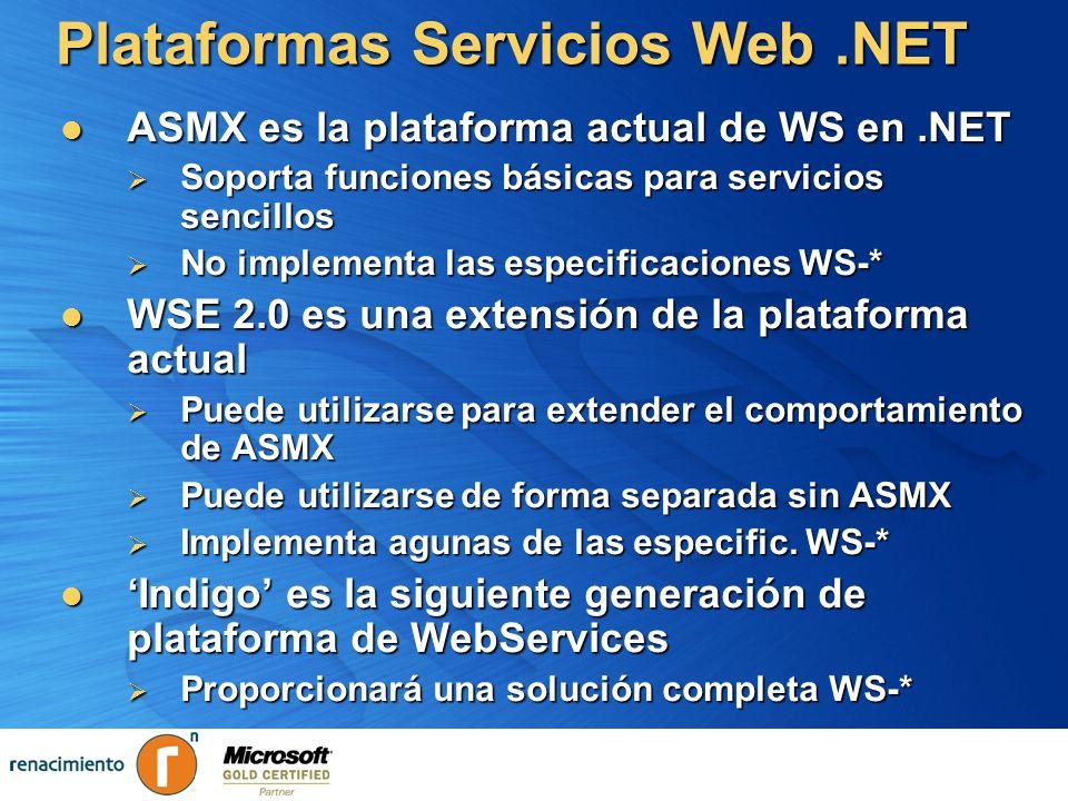 Plataformas Servicios Web.NET ASMX es la plataforma actual de WS en.NET ASMX es la plataforma actual de WS en.NET Soporta funciones básicas para servi