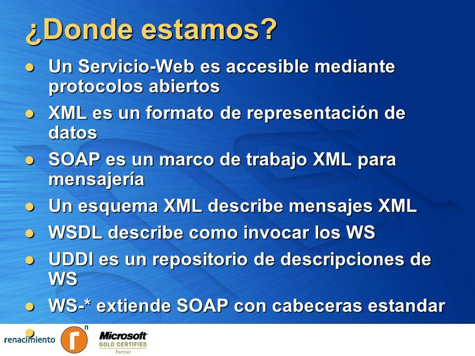 ¿Donde estamos? Un Servicio-Web es accesible mediante protocolos abiertos Un Servicio-Web es accesible mediante protocolos abiertos XML es un formato